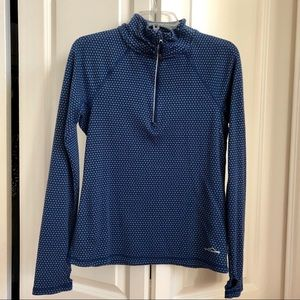 Eddie Bauer Blue Dot Zip Pullover Thumbhole MED